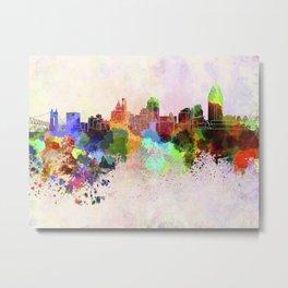 Cincinnati skyline in watercolor background Metal Print