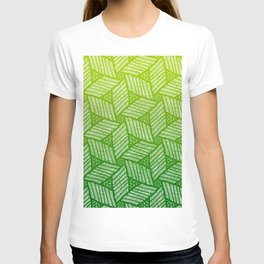 Japanese style wood carving pattern in green T-shirt