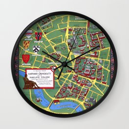 HARVARD University map CAMBRIDGE Wall Clock
