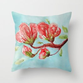 Vermilion Blossoms watercolor by CheyAnne Sexton Throw Pillow