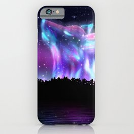 Northern landscape with howling wolf spirit and aurora borealis iPhone Case
