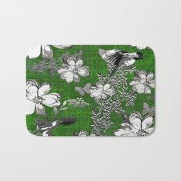 Birds Green Gray White Toile Bath Mat
