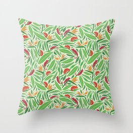 Red chameleon on strelitza amoung green palm leaves Throw Pillow
