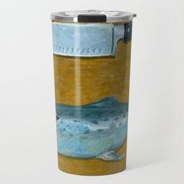 Mackerel on Cutting Board Travel Mug