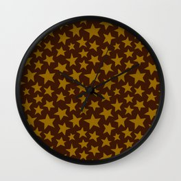 Chocolate Doodle Stars Wall Clock