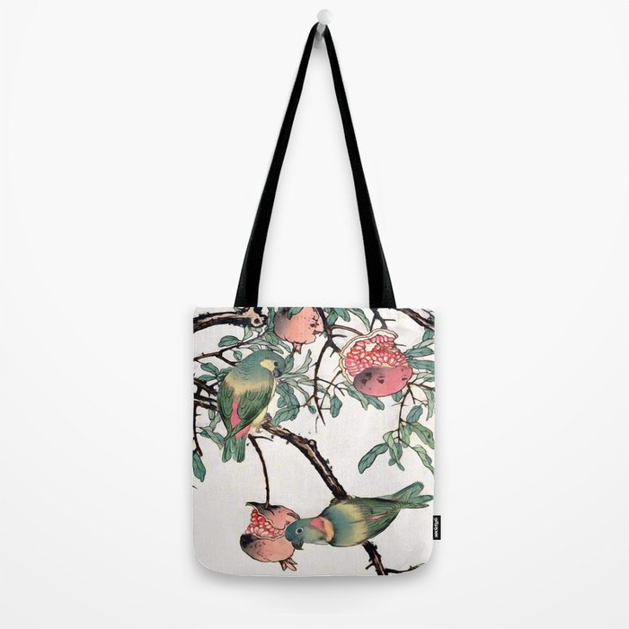 Pomegranate and Lovebirds Tote Bag