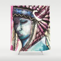 native Shower Curtains featuring Native by Siriusreno