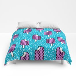 Bite Me - popsicle throwback 80s style memphis dots pattern trendy hipster summer ice cream Comforters