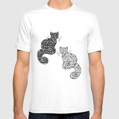 Black Cat White Cat SMALL White Mens Fitted Tee