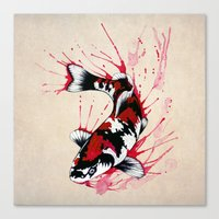 koi fish Canvas Prints featuring Koi by Puddingshades