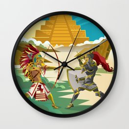 european knight fighting an aztec warrior in the jungle Wall Clock