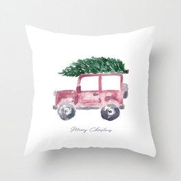 Merry Christmas - Red Jeep Wrangler with Christmas Tree Throw Pillow