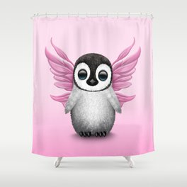 Cute Baby Penguin with Pink Fairy Wings Shower Curtain
