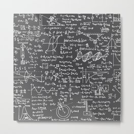 Physics Equations // Charcoal Grey Metal Print