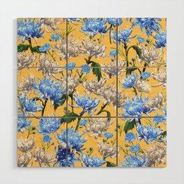 Mums Pattern     Yellow-Blue-Cream-White Wood Wall Art