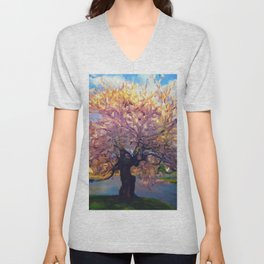 Blooming Tree Impressionist Painting Unisex V-Neck
