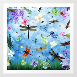 There Be Dragons Whimsical Dragonfly Art Art Print