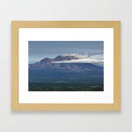 Summer mountain landscape, scenery erupting volcano on Kamchatka Peninsula Framed Art Print