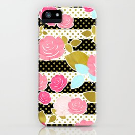 Fun Chic Roses & Black and White Stripes with Gold Dots iPhone Case