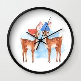 Fawns. Winter card Wall Clock