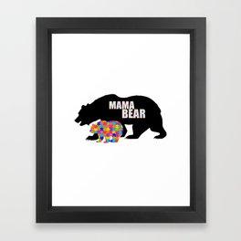 Mama Bear Autism Awareness Support Framed Art Print