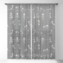 Skeleton Yoga_Gray Sheer Curtain
