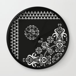 scroll scarf in black and white Wall Clock