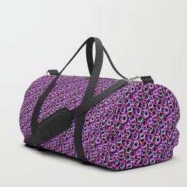 Fun Pattern: Hoops And Loops In Living Coral, Magenta And Cyan Duffle Bag