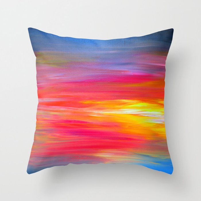 Perfect BRIGHT HORIZONS Bold Colorful Rainbow Pink Yellow Blue Abstract  ZY33