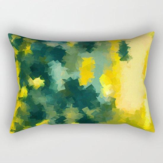 Squares Pattern #Yellow #Green #Mint #2 Rectangular Pillow