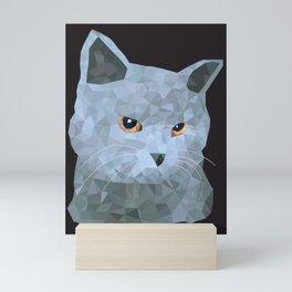 Low poly british cat Mini Art Print