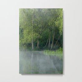 Photograph of mist on water, with woodland on the shore. Metal Print
