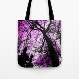 Purple evening moon through the trees Tote Bag