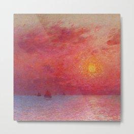 Sailboats at Sea, Evening maritime landscape painting by Ferdinand Du Puigaudeau Metal Print