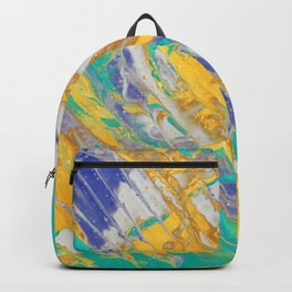 Fluid Acrylic Painting Multi Color Glitch Wave Effect Gold Yellow Cyan Green Navy Blue Backpack