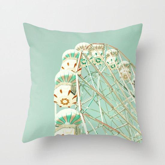 Soft Aqua Ferris Wheel  Throw Pillow