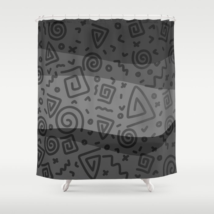 ETHNO PATTERN Modern | grey Shower Curtain