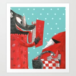 Big eyed wolf Art Print