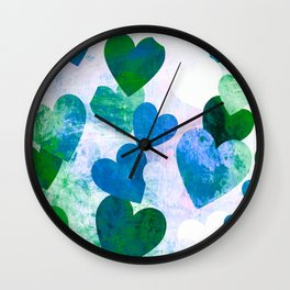 Fab Green & Blue Grungy Hearts Design Wall Clock