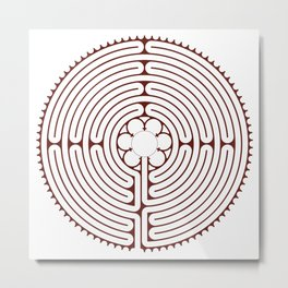 Cathedral of Our Lady of Chartres Labyrinth - Red Metal Print