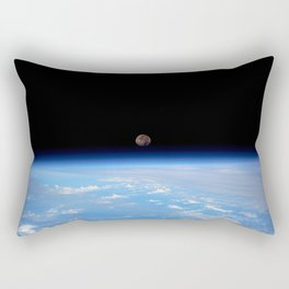 Synthwave Space #22: Moon, Earth, horizon, orbit Rectangular Pillow
