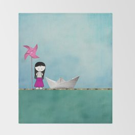 Little girl Throw Blanket