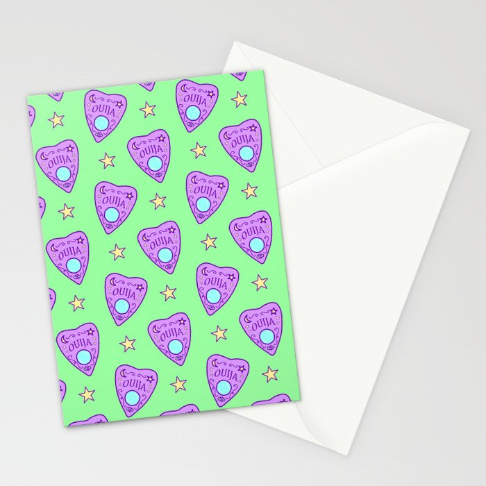 Planchette Pattern on Green Stationery Cards