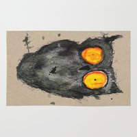 scary Area & Throw Rugs featuring Scary owl by Bwiselizzy