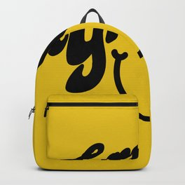 Groovy Smile // Black Smiley Face Fun Retro 70s Hippie Vibes Mustard Yellow Lettering Typography Art Backpack