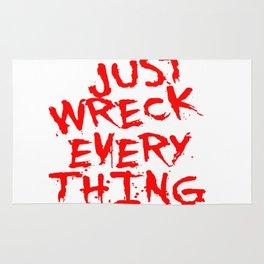 Just Wreck Everything Bright Red Grunge Graffiti Rug