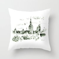 medieval Throw Pillows featuring Medieval landscape. by LaDa