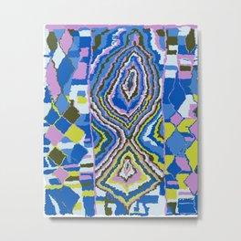 Abstract Tribal Rug in Royal Blue Metal Print