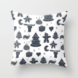Grey Christmas Objects Decor Throw Pillow