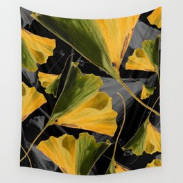 Yellow Ginkgo Leaves on Black Wall Tapestry